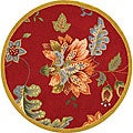 Hand-hooked Botanical Red Wool Rug (3' Round)