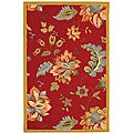 Safavieh Hand-hooked Botanical Red Wool Rug (3'9 x 5'9)