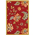 Hand-hooked Botanical Red Wool Rug (3'9 x 5'9)