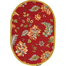 Safavieh Hand-hooked Botanical Red Wool Rug (4'6 x 6'6 Oval)