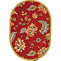 Hand-hooked Botanical Red Wool Rug (4'6 x 6'6 Oval)