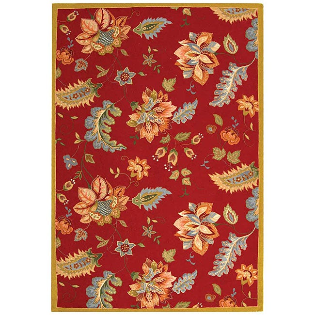 Safavieh Hand-hooked Botanical Red Wool Rug (6' x 9')