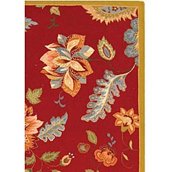 Hand-hooked Botanical Red Wool Rug (6' x 9')