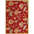 Safavieh Hand-hooked Botanical Red Wool Rug (6' x 9')