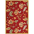 Hand-hooked Botanical Red Wool Rug (7'9 x 9'9)