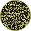 Hand-hooked Ferns Black/ Olive Wool Rug (4' Round)