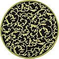 Hand-hooked Ferns Black/ Olive Wool Rug (8' Round)