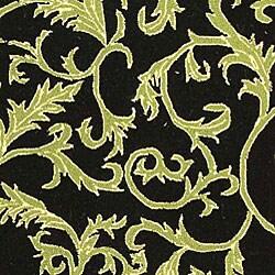 Safavieh Hand-hooked Ferns Black/ Olive Wool Rug (8'9 x 11'9)