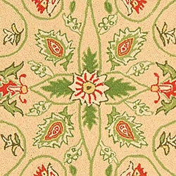 Safavieh Hand-hooked Bedford Beige/ Green Wool Runner (2'6 x 10')