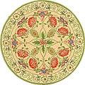 Safavieh Hand-hooked Bedford Beige/ Green Wool Rug (3' Round)