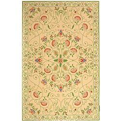 Safavieh Hand-hooked Bedford Beige/ Green Wool Rug (8'9 x 11'9)