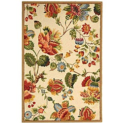 Hand-hooked Transitional Ivory Wool Rug (3'9 x 5'9)