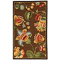 Hand-hooked Transitional Brown Wool Rug (2'9 x 4'9)