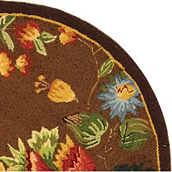 Hand-hooked Transitional Brown Wool Rug (3' Round)