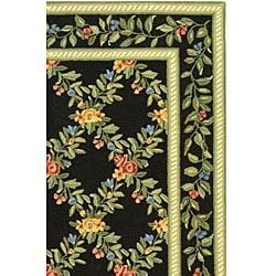 Hand-hooked Garden Trellis Black Wool Rug (5'3 x 8'3)