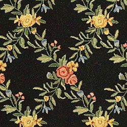 Safavieh Hand-hooked Garden Trellis Black Wool Rug (6' x 9')