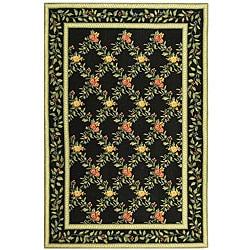 Hand-hooked Garden Trellis Black Wool Rug (8'9 x 11'9)