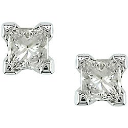 Miadora 14k Gold 1/4ct TDW Princess-cut Value Diamond Stud Earrings (J-K, I2-I3)