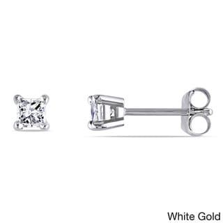 M by Miadora 14k Gold 1/10ct Princess Diamond Stud Earrings