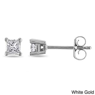 14k White/Yellow Gold Princess Diamond Stud Earrings