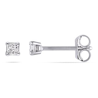 Miadora 14k Gold 1/10 to 1/2ct TDW Princess-cut Diamond Stud Earrings