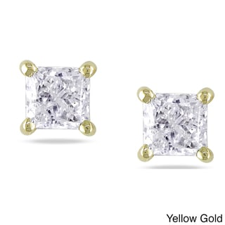 Miadora 14k Gold 3/4 to 2ct TDW Princess-cut Diamond Stud Earrings