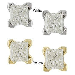 Miadora 14k Gold 1ct TDW Princess-cut Value Diamond Stud Earrings (J-K, I2-I3)