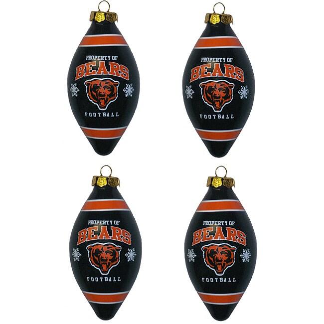 Chicago Bears Teardrop Ornaments (Set of 4)
