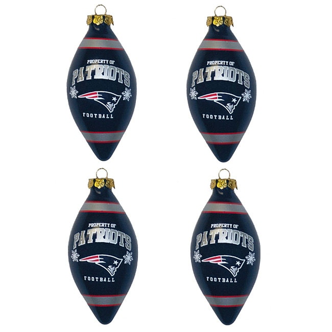 New England Patriots Teardrop Ornaments (Set of 4)