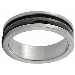 Stainless Steel Black Stripe Ring