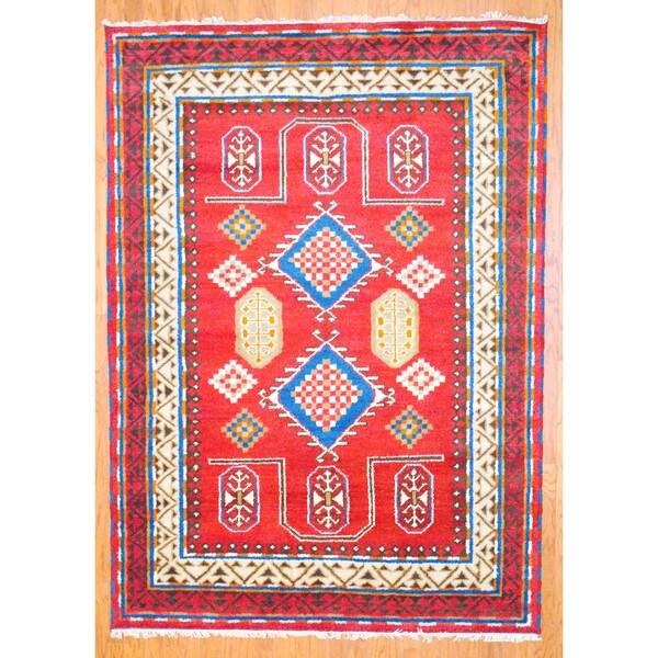 Indo Kazak Burgundy/ Ivory Wool-blend Rug (5'9 x 8)