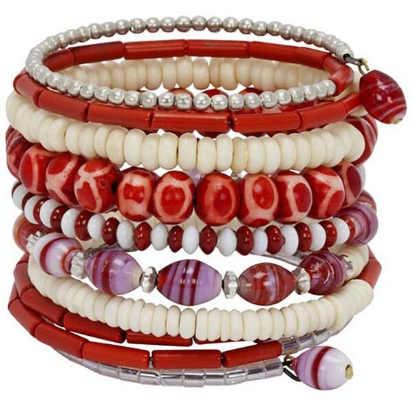 Red Bead and Bone 10 Round Bracelet (India)