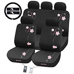 Flowers 12-piece Automotive Seat Cover Set