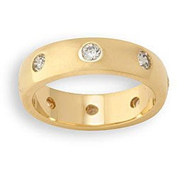 Simon Frank 14k Yellow Gold Overlay CZ Royalty Band