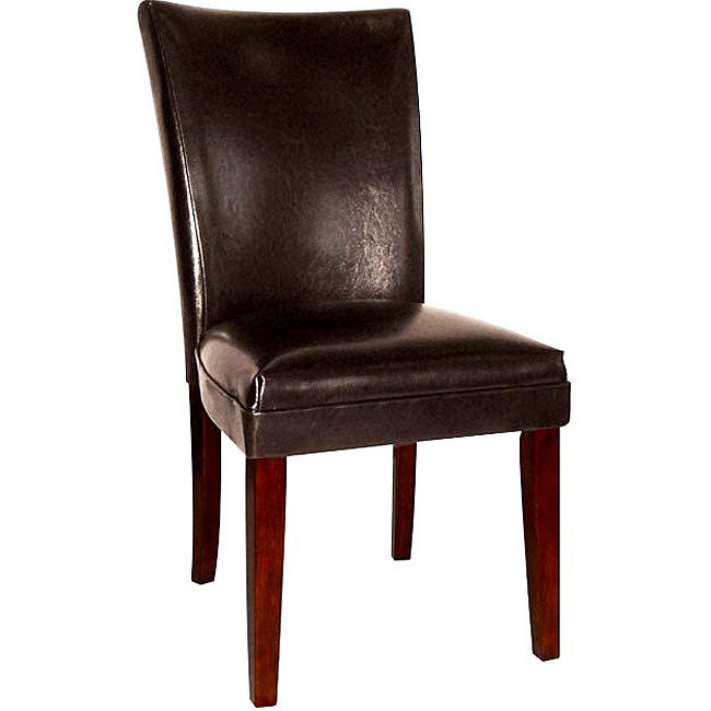 Empire Black Bicast Leather Parson Chairs (Set of 2)