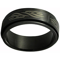 Black Stainless Steel Tribal Wave Spinner Band