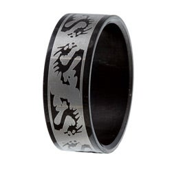 Stainless Steel Black-plated High-Polish Tribal Dragon Ring