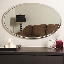 Oval v-grooved Framed Mirror