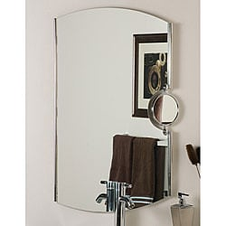 Frameless Chrome Mirror with Magnifier