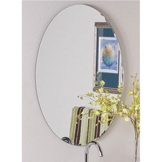 Frameless Oval Scallop Beveled Mirror - Clear - A/N