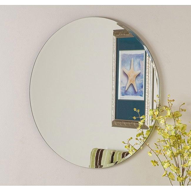 Large frameless mirrors for bathrooms - Frameless Round Beveled Mirror 11578106 Overstock Com