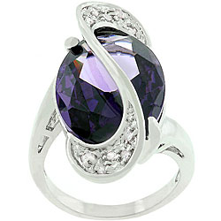 Kate Bissett White Goldplated Purple CZ World Wonder Ring