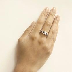 Kate Bissett White Gold Rhodium-bonded Clear/ Blue CZ Regal Ring
