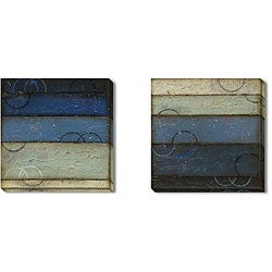 DeRosier 'Blue Spectrum' Gallery Wrapped Art Set