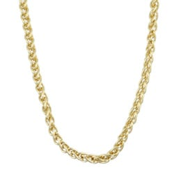 Sterling Essentials 14K Gold over Silver 24-inch Spiga Chain (1.5 mm)
