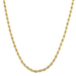 Sterling Essentials 14K Gold over Silver 20-inch Diamond-cut Rope Chain (1.5 mm)
