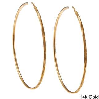 Sterling Essentials Silver 2.5 inch Facetada Hoop Earrings
