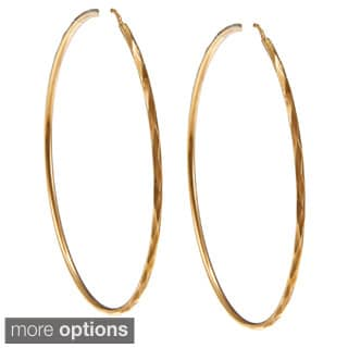 Sterling Essentials Silver 2.5 inch Facetada Hoop Earrings