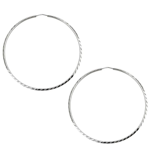Platifina 2.25 inch Diameter Diamond-Cut Hoop Earring