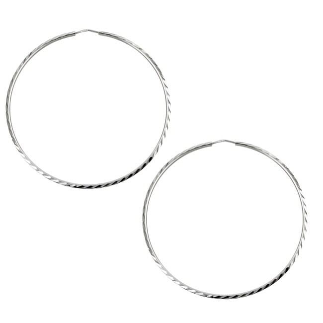 Sterling Essentials Rhodium Plated Silver 2.75 inch Diameter Diamond-Cut Hoop Earring
